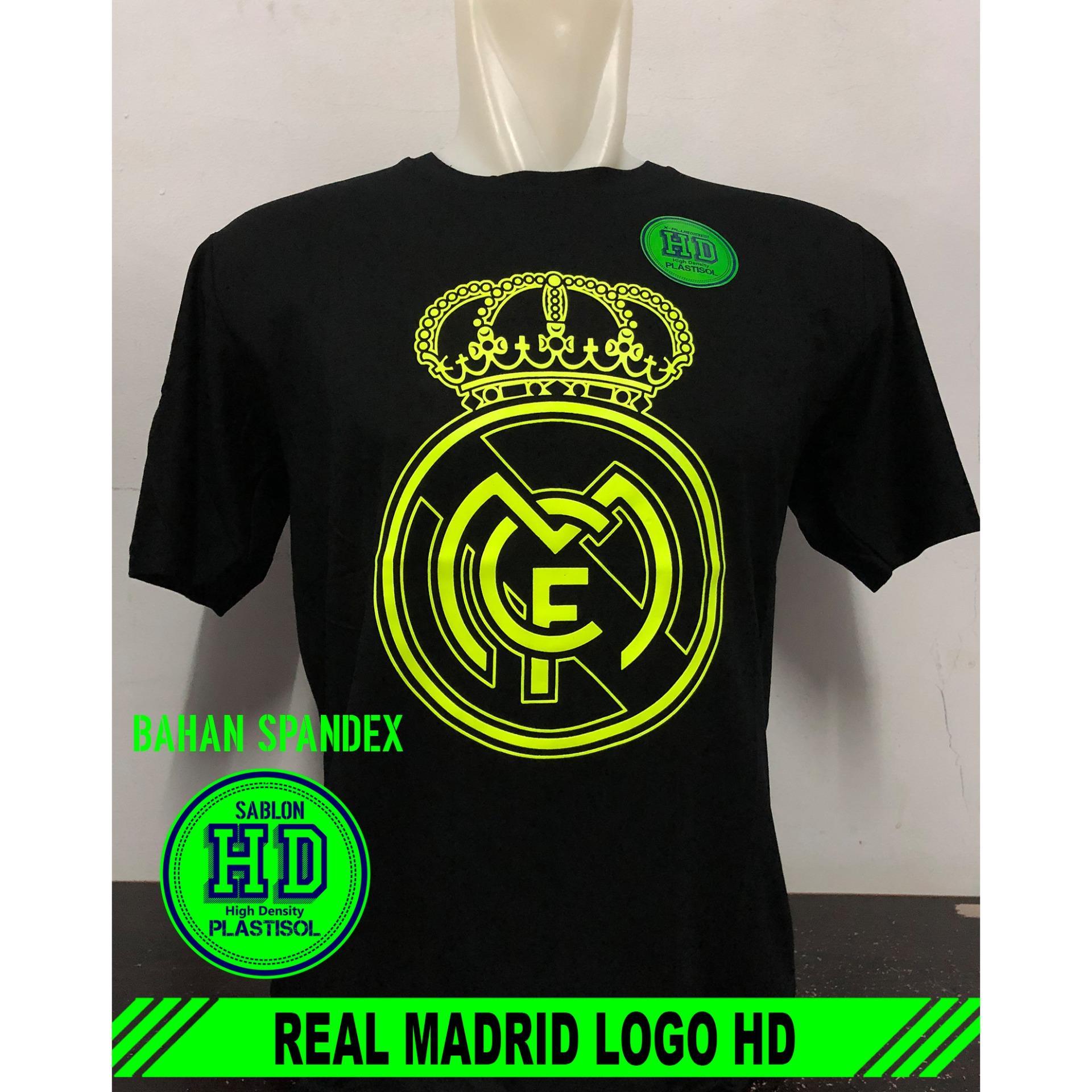 Black Distro - Kaos T-Shirt Distro / kaos Pria / Tshirt Pria / Distro Pria / Baju Pria Real Madrid Logo HD - Hitam