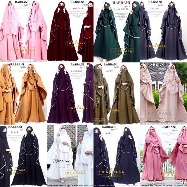 rabbani syari set gamis dress busui khimar intanka (black)