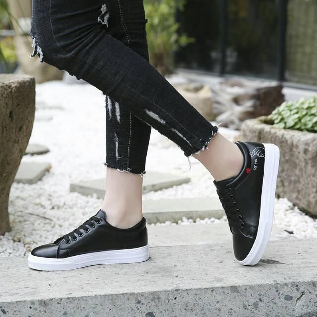 DISTROBOGOR Sepatu Hitam For You- Kets Sneaker Sekolah Kuliah Hitam - Sepatu Wanita/Pria