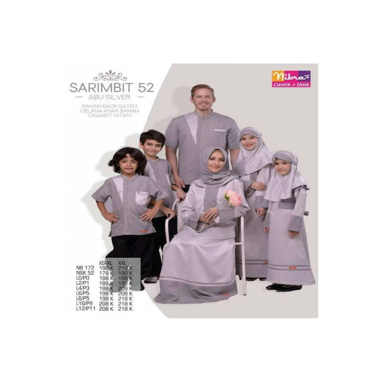 Nibras Sarimbit 52 Abu Silver - Back Satin - Jual Baju Keluarga Muslim