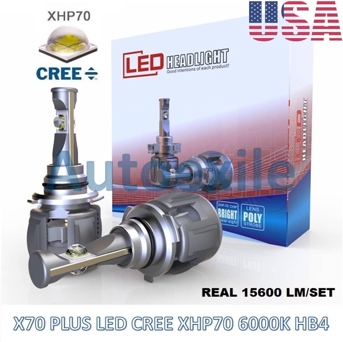 X70 Plus LED HB4 9006 60W 15600LM CREE XHP70 6000K Lampu Mobil Putih XHP 70 Avanza Fortuner CRV Innova