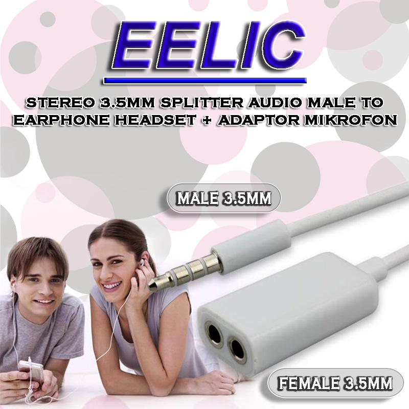 EELIC ADT-KY39 PUTIH ADAPTOR SPLITTER MIKROFON AUDIO JACK CONNECTOR PLUG 3.5MM MALE DAN 3.5MM FEMALE EARPHONE DAN ADAPTOR MIKROFON