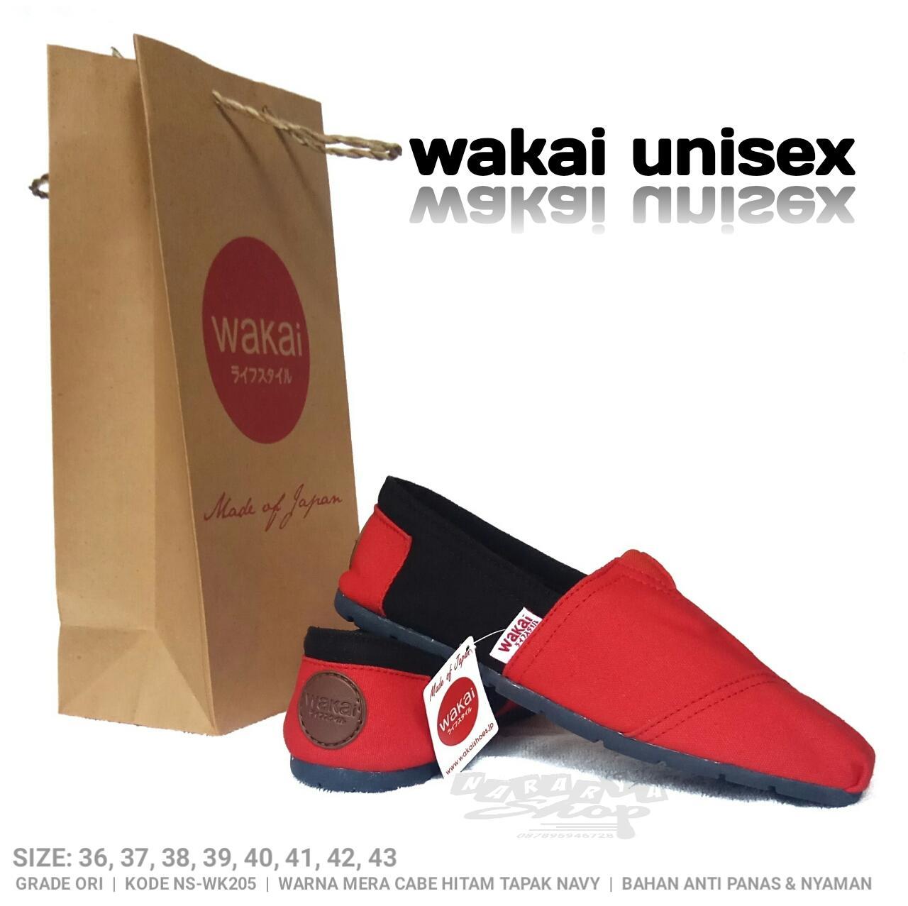 Sepatu wakai merah hitam sepatu unisex sepatu pria sepatu wanita sepatu wakai