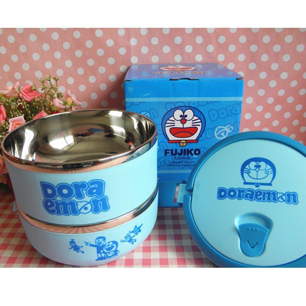 Lunch Box Kotak Makan Yooyee 4 Sekat Sup Rantang Doraemon 2susun Susun Unik 2