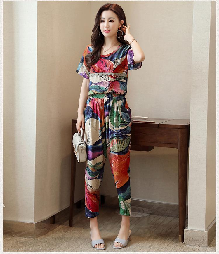 Musim panas baju wanita membentuk tubuh kain linen lengan pendek pakaian wanita set dua potong Gaya