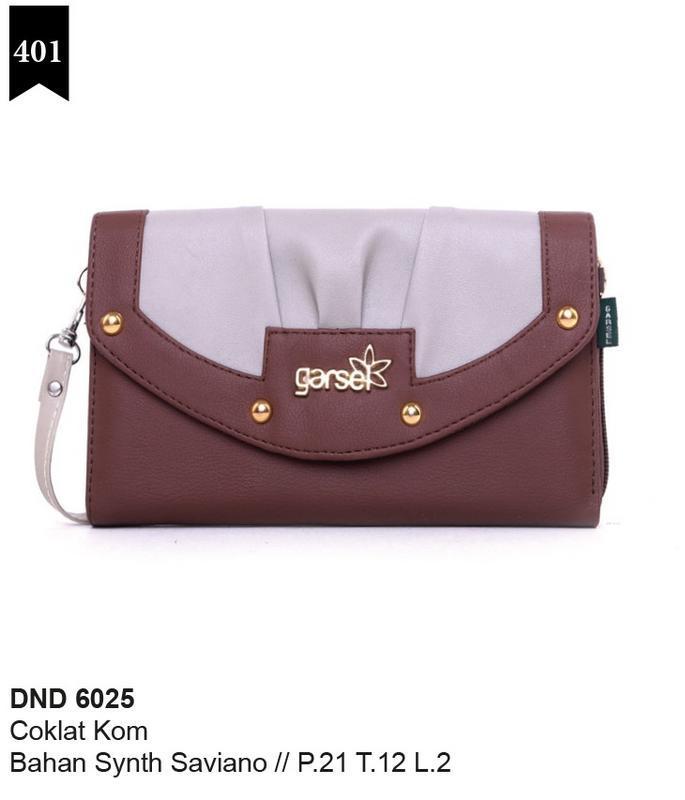 Garsel Fashion Dompet Wanita - bahan sintetis savian - 21x12x2 Murah & berkualitas (Coklat Kom