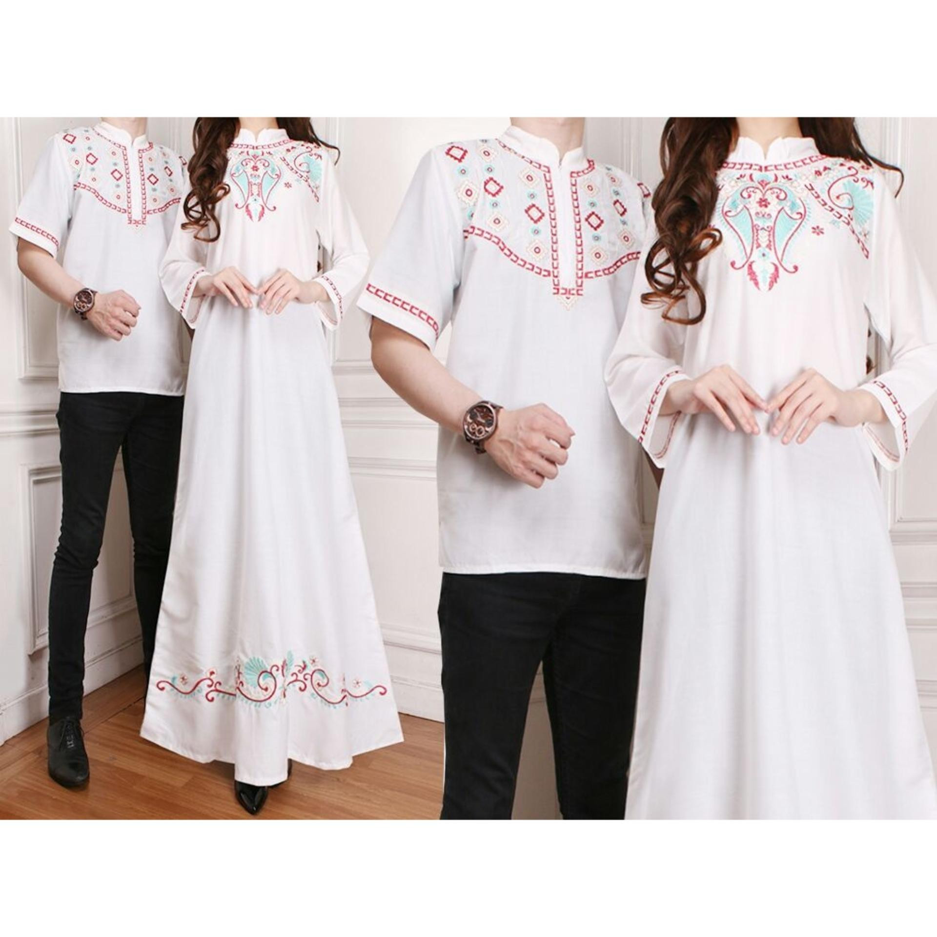Flavia Store Baju Muslim Couple Bordir FS0296 - PUTIH / Sarimbit / Batik Pasangan / Sepasang Busana Syar'i / Kemeja Koko Pria Gaun Muslimah Gamis Syari Wanita / Srshakinah