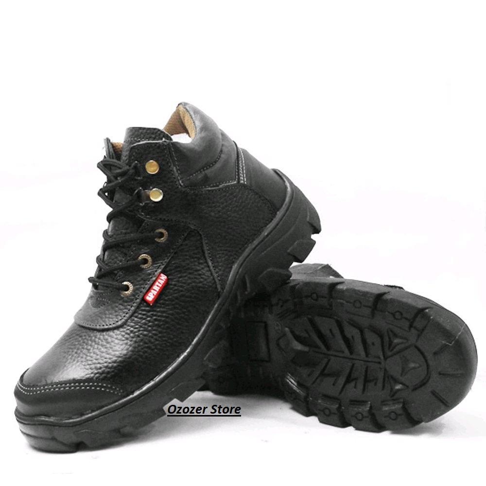 Sepatu safety boot bahan kulit sapi asli L12