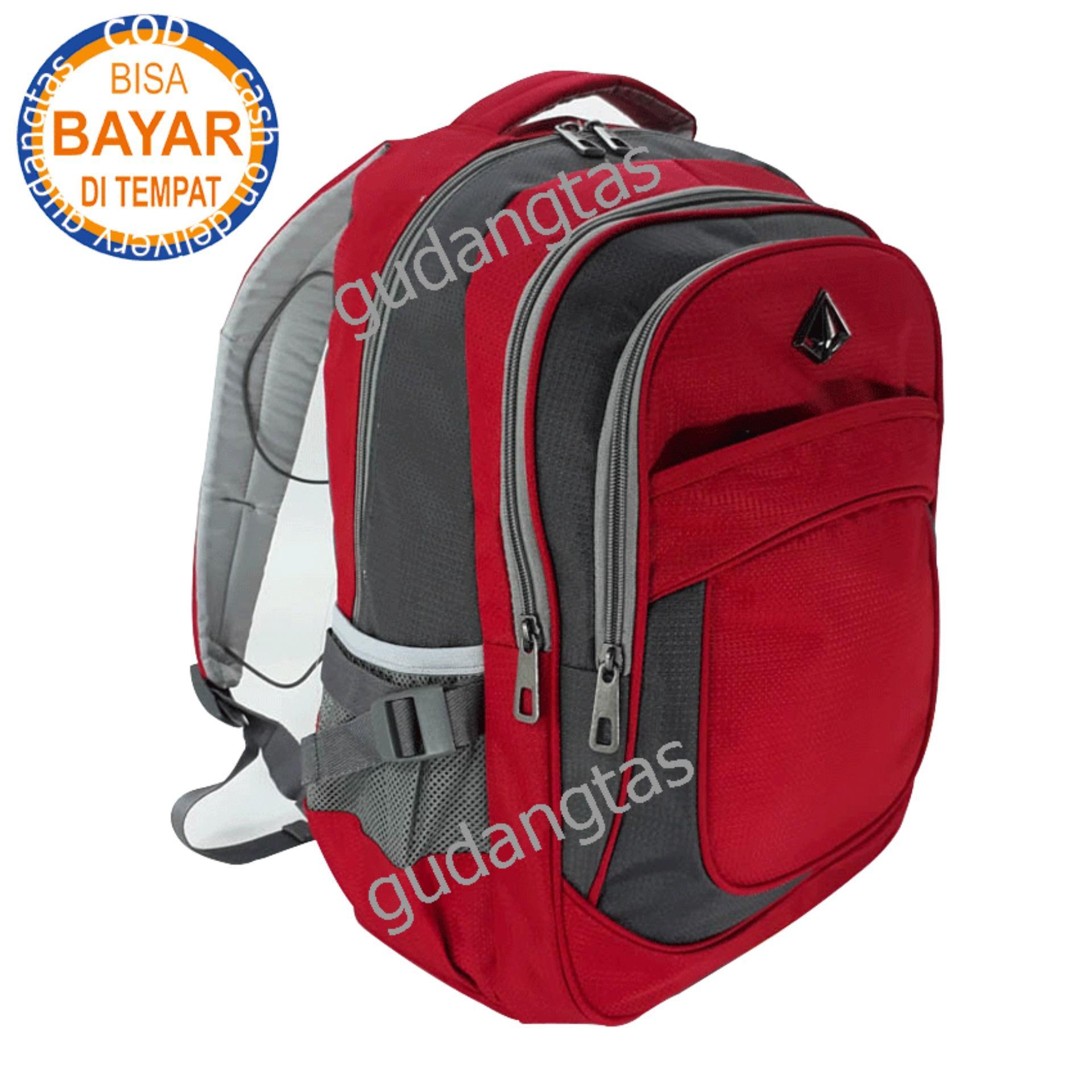 Alto Super Tas Sekolah Tas Kuliah Tas Travelling 79157 Ransel Laptop  MERAH + Raincover