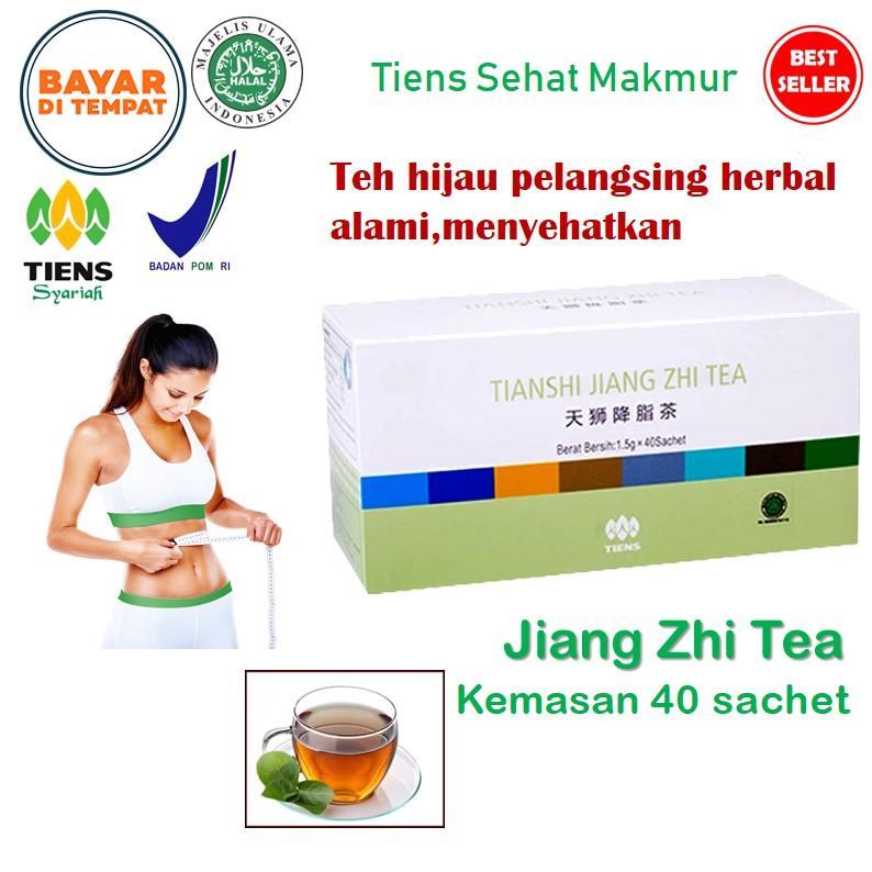 Tiens Teh hijau Jiang Zhi - isi 40 sachet | Teh Diet Peluntur Lemak | Penurun Berat badan | Susut Perut | Obat Pengecil Perut Buncit | Obat Pelangsing Herbal BPOM