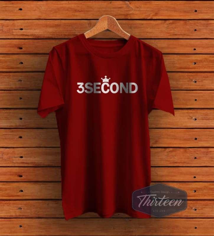 Kaos Baju Rep 3 Second / 3Second / Three second Kualitas Distro - Maroon