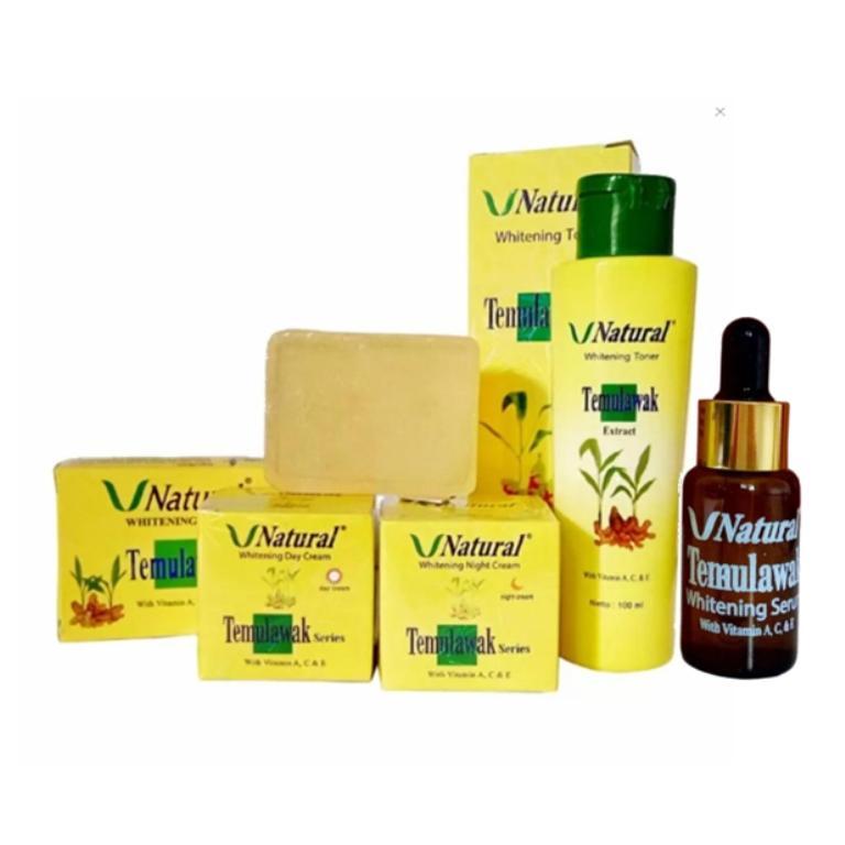 [ Paket Komplit ] Temulawak  V Natural BPOM Pemutih Wajah Alami  Cream Siang, Malam, Sabun Toner dan Serum V Natural 20Ml
