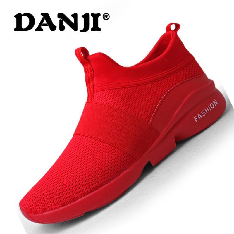 DanJi Baru Pria Mode Bernapas Sepatu Lari Kasual Sepatu Olahraga Pria Sepatu  Jala Sepatu Olahraga 39 eabeac8324