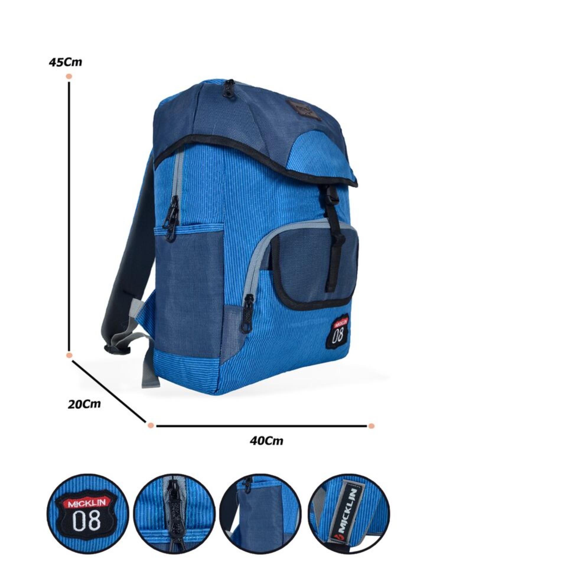 Micklin Backpack Tas Ransel Pria Korean Style Design 17 Inchi 1130-17 Polyester + Raincover