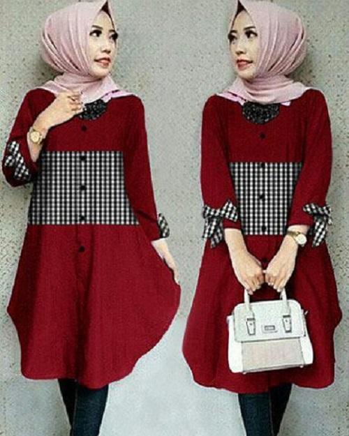 HRV Shop Kemeja Tunik Wanita Lengan Panjang Ribbon (TANPA Pashmina) / Atasan Muslimah / Kemeja Kerja Wanita / Baju Muslim Wanita / Kemeja Casual Wanita / Atasan Wanita / Tunik Murah / Tunik Kotak