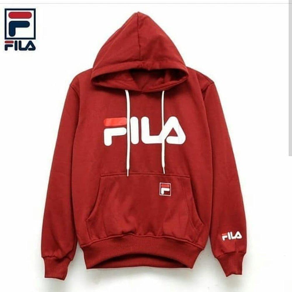 Jaket sweater hoodie FILA premium hitam