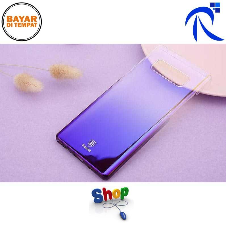 Baseus Glaze Hardcase for Samsung Galaxy Note 8 - Purple / Ungu Hardcase Casing Pelindung Hp Kuat Awet Unik Gradatation Gradasi Color Berkualitas Original FREE ONGKIR
