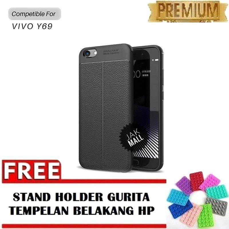 Jak Shop Leather Softcase For VIVO Y69 - Black - FREE Holder Gurita