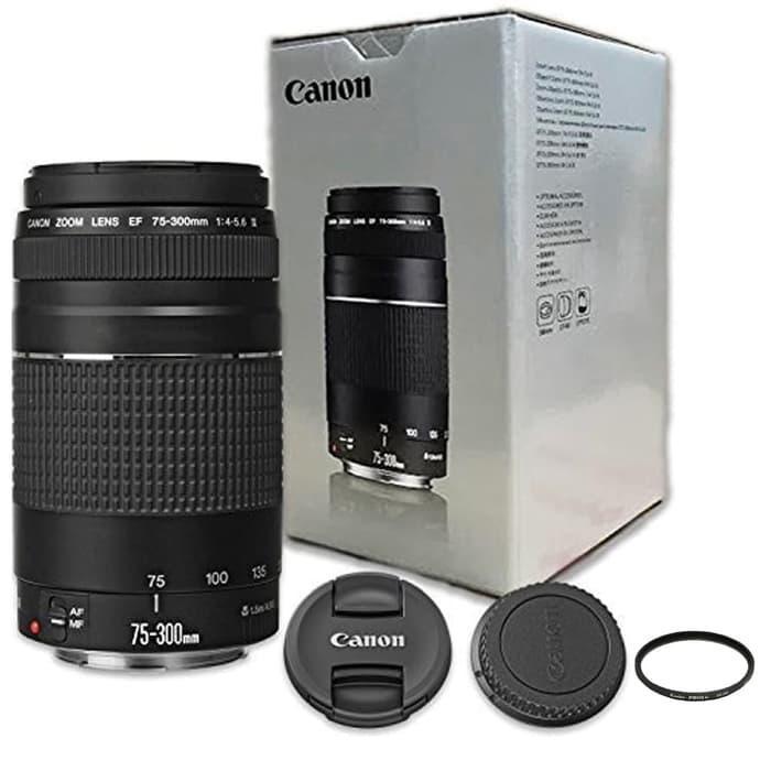 LENSA TELE ZOOM KAMERA DSLR CANON EF 75-300mm F4-5.6 III Free Filter