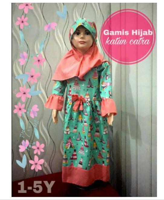 GROSIR Gamis+Hijab katun catra size 1-5Y