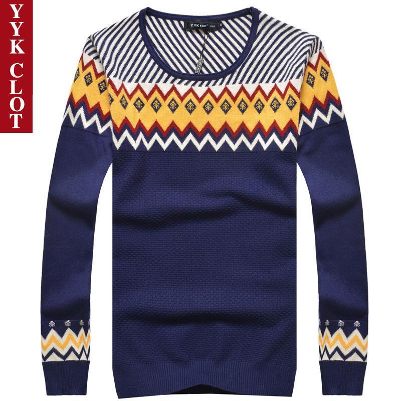 Pria Leher Bulat Pullover Kemeja Rajut Sweter (YH863 Biru Tua)