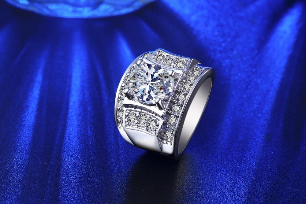 NEW Promo Perhiasan Cincin Lapis Emas Putih Berlian Imitasi Pria Batu CZ Besar BR135 Murah