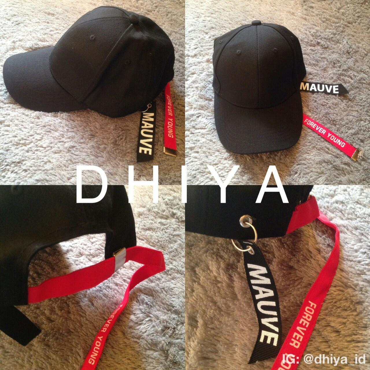 MAUVE Baseball Cap With Long Strapback Forever Young RED BLACK RING IMPORT