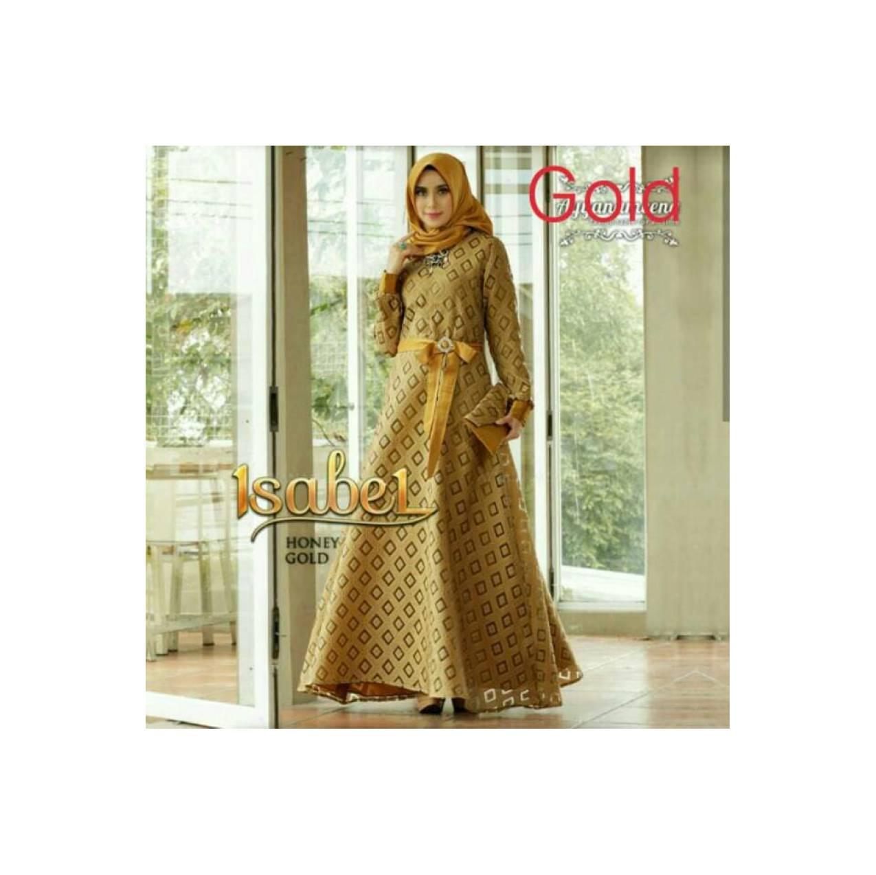 Baju Gamis Lebaran Dress Wanita Dewasa Muslim Polos Elegant Warna Gold - Hitam