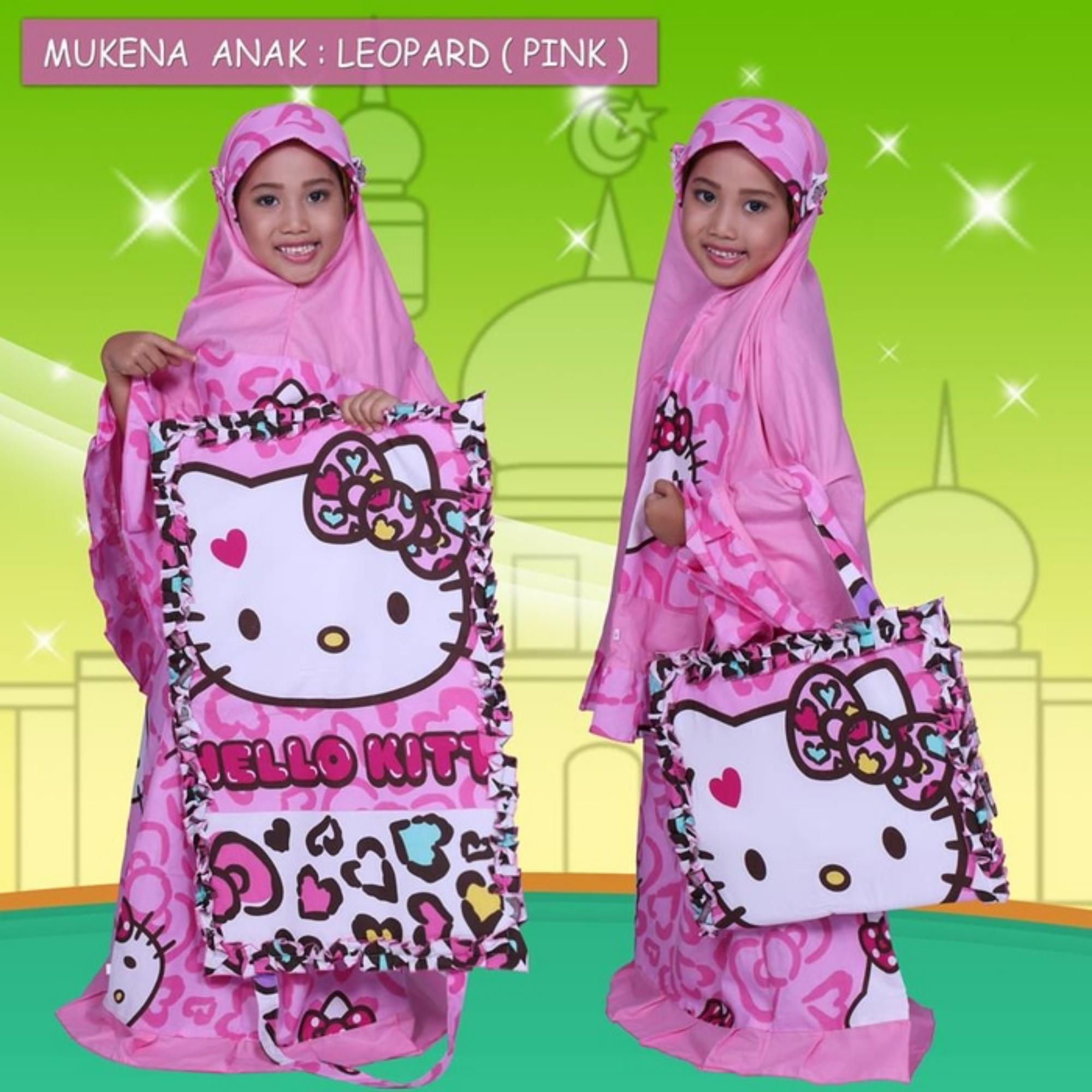 Mukena Anak Hello Kitty Leopard Pink Colour