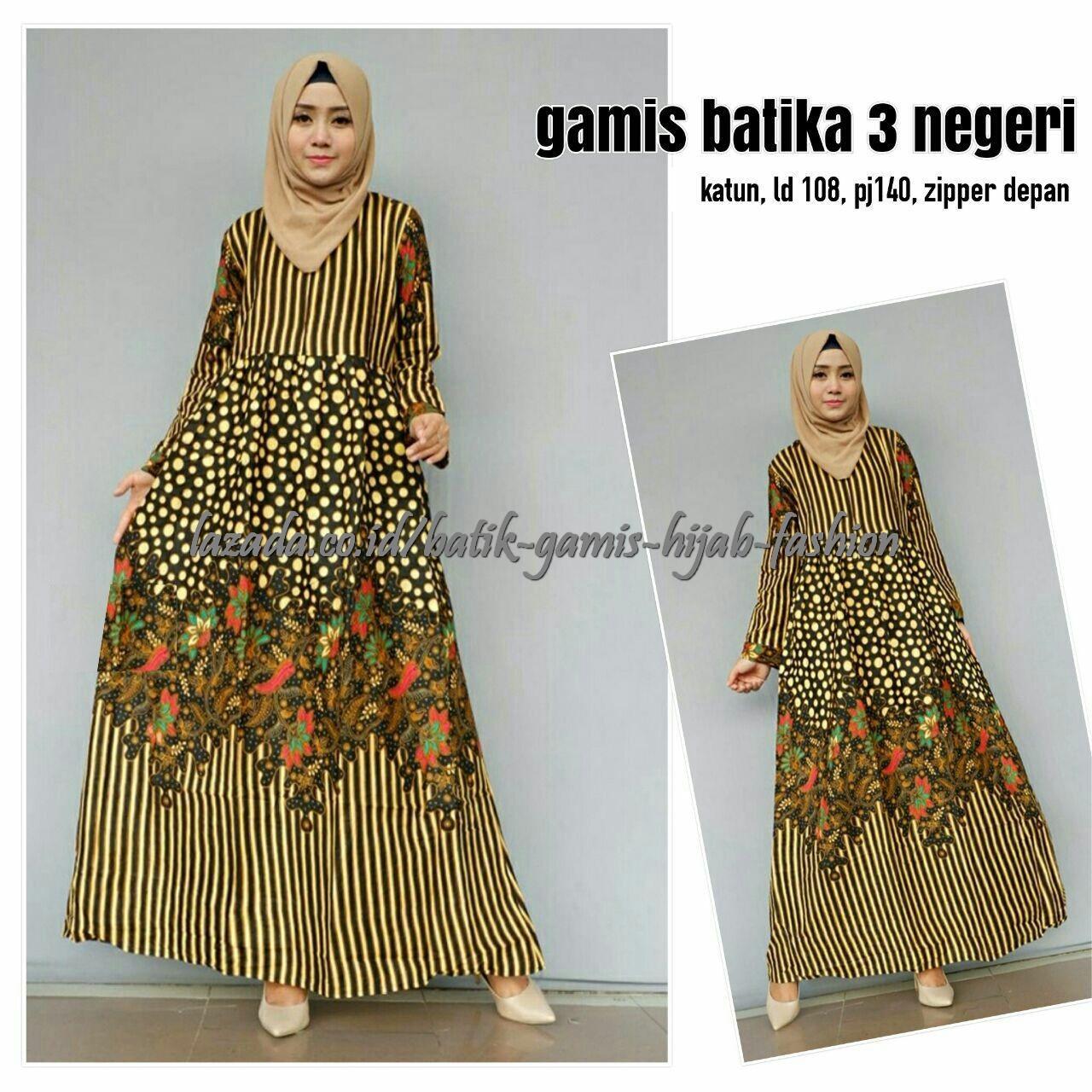 Terbaru Baju Muslim Gamis Batik Atasan Wanita Batika 3 Negeri - A