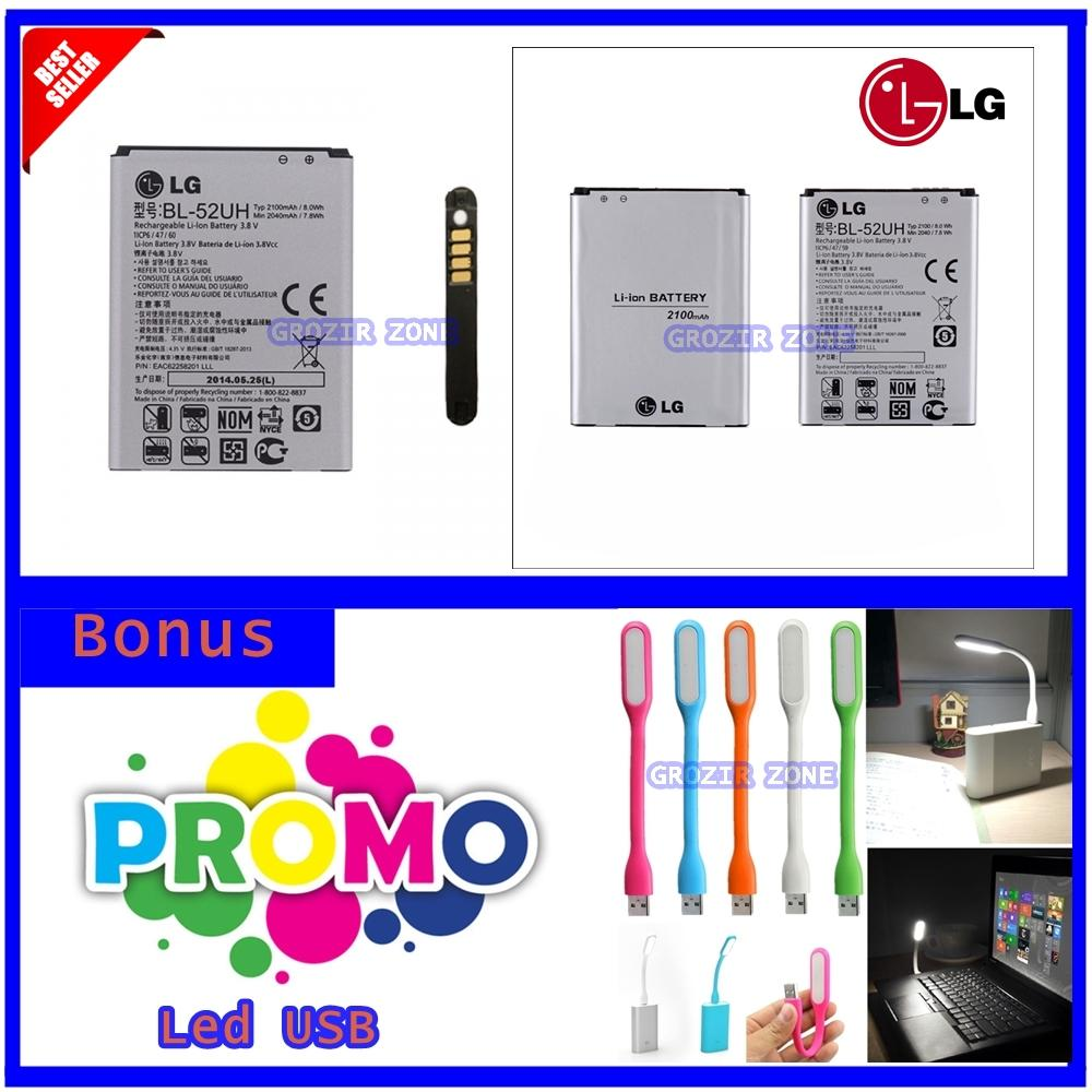 LG Baterai / Battery BL52UH For LG L70 / L65 / D280 / F60 / D285 / L65 Dual  Original - Kapasitas 2100mAh + Graris Lampu Led Usb ( Grozir Zone )