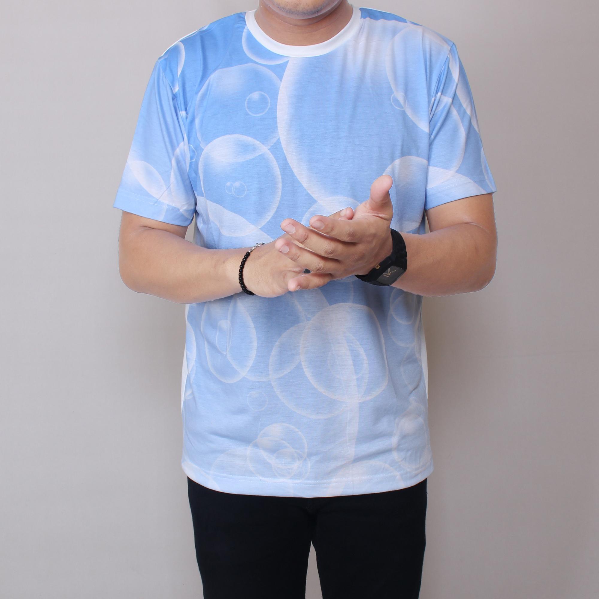 Zoeystore1 5984 Kaos Putih Motif BALON Pria Lengan Pendek Baju Kaos Distro Casual
