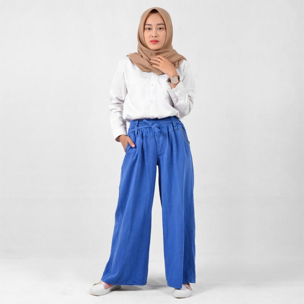 Celana Kulot (Ribbon Jumbo) Panjang Wanita / Mat Jeans Tebal Grosir/Ecer