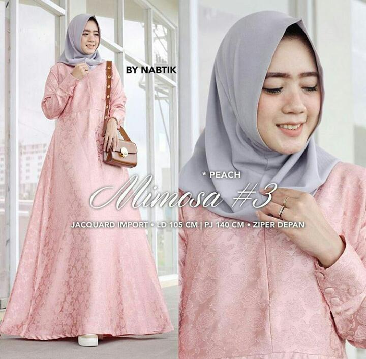 Baju Original Gamis Mimosa Maxi Dress Balotelly Embose Fashion Terusan Panjang Wanita Hijab Modern