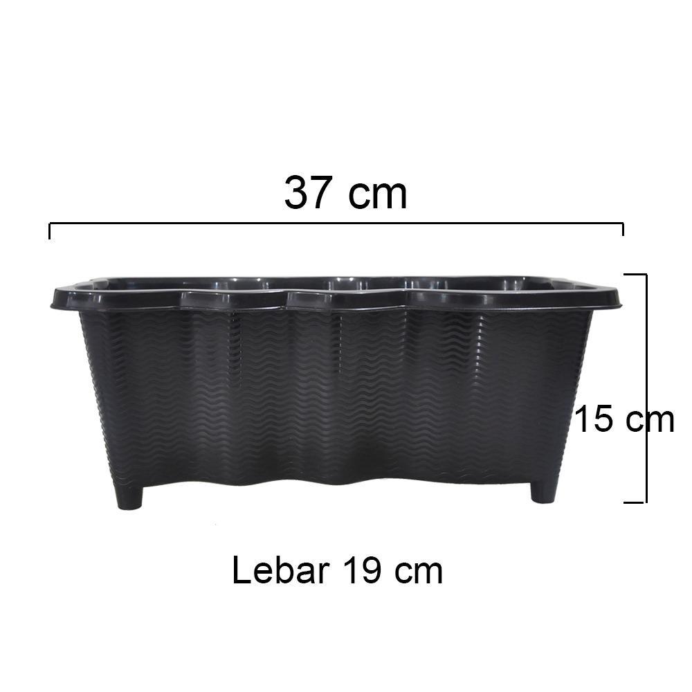 Jirifarm Pot Hitam Gelombang SGP-01 Panjang 37 cm