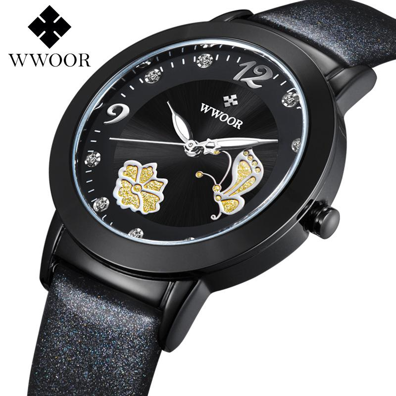 Jam Tangan Wanita Merek WWOOR Mode Quartz-watch Jam Perempuan Relojes Mujer Dress Ladies Watch Bisnis Kulit Merah Kupu-kupu
