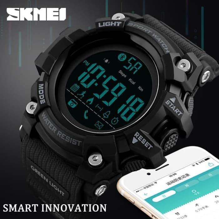 Smart Watch SKMEI 1385 Bluetooth Pedometer Water Resist 50M - Black / Jam Tangan keren /