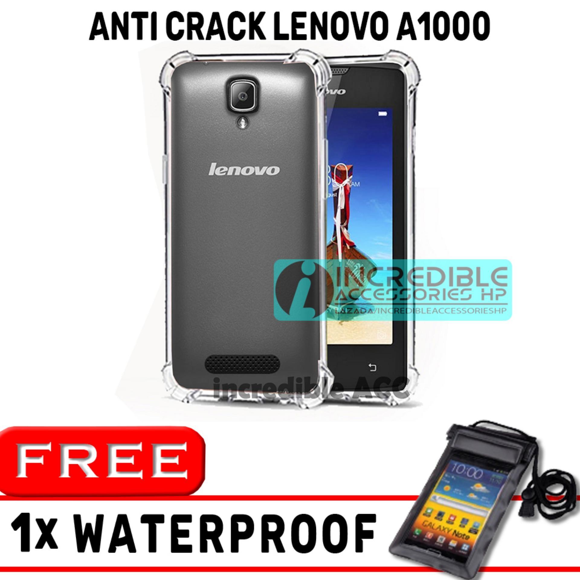 Anti Crack for Lenovo A1000 Softcase Elegant Anti Shock Jelly Case - Bening + Free Waterproof Warna