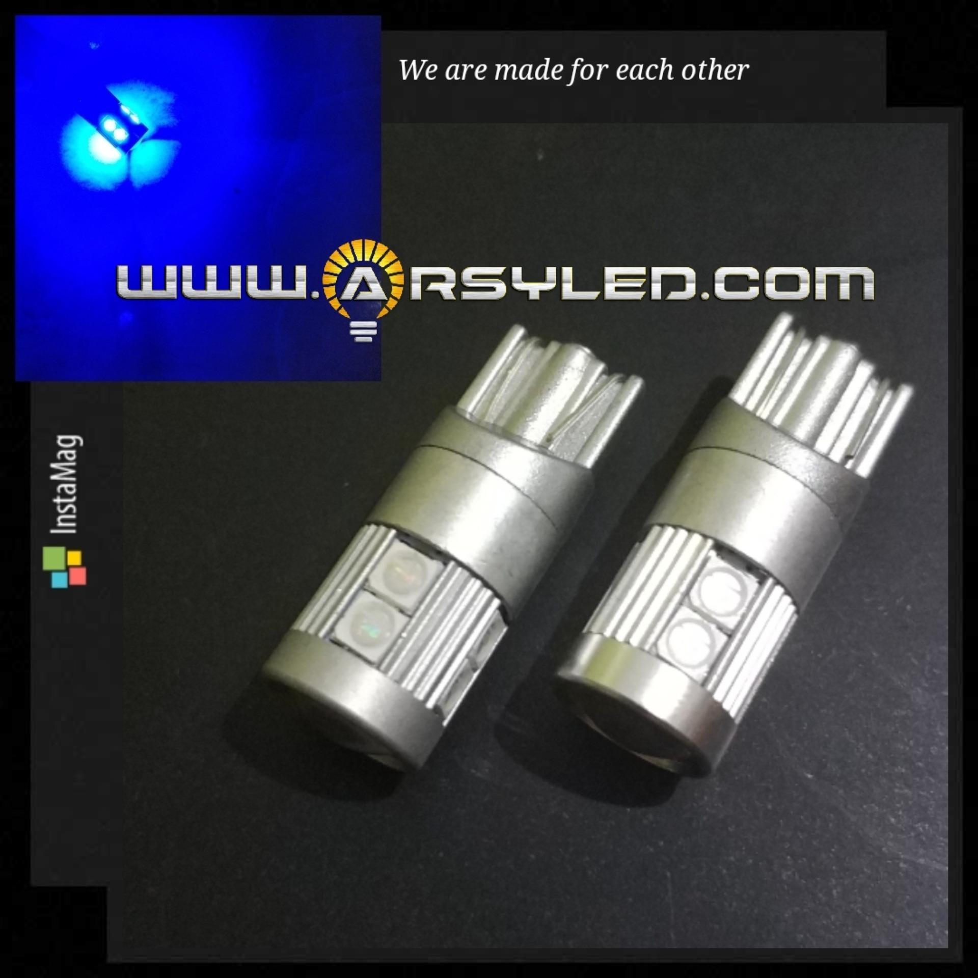 2 Biji Lampu LED T10 VLITE 9 titik 3030 Senja Sein Sen Mundur Super Bright MOTOR MOBIL ARSYSTORE BRIO MOBILIO ERTIGA AVANZA XENIA - Biru