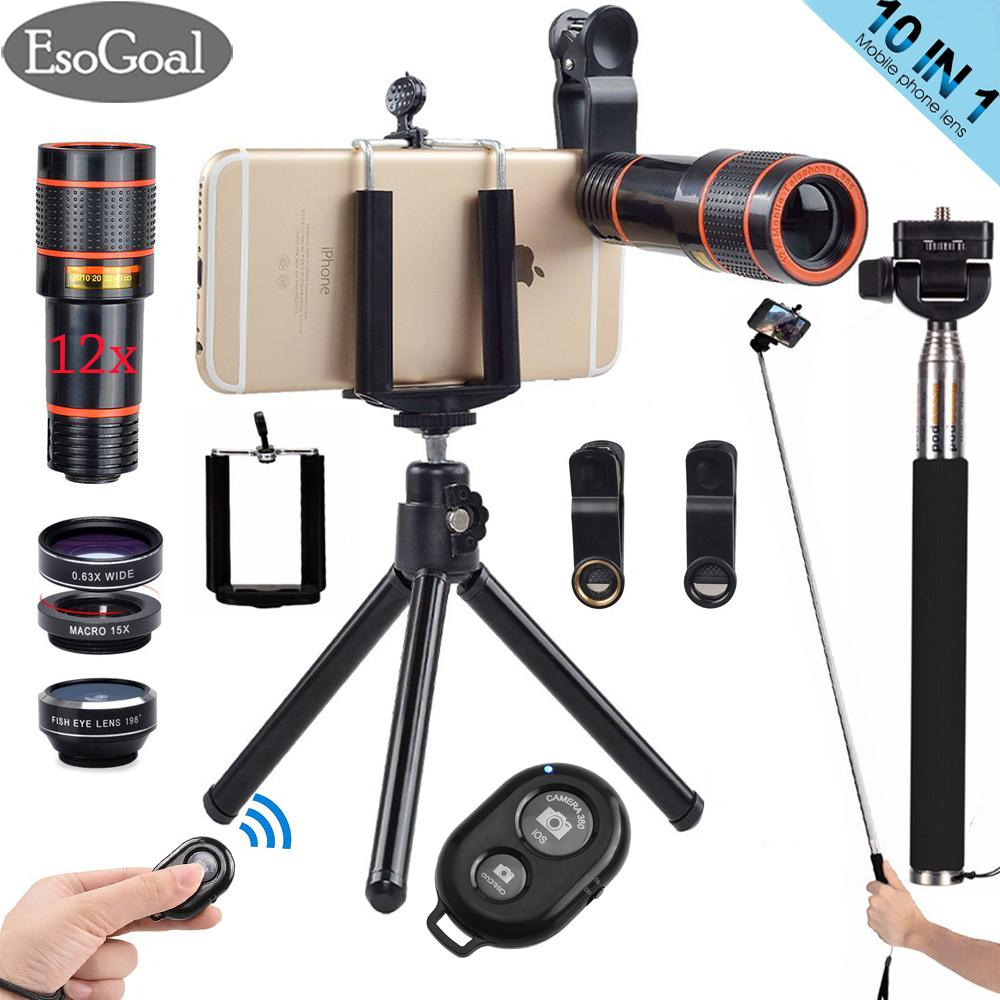 EsoGoal 10 in 1 12x Zoom Telephoto Lens + Fisheye + Wide Angle + Macro Lens + Selfie Stick Monopod + Bluetooth Remote Control + Mini Tripod with Phone Holder for Mobile Phones