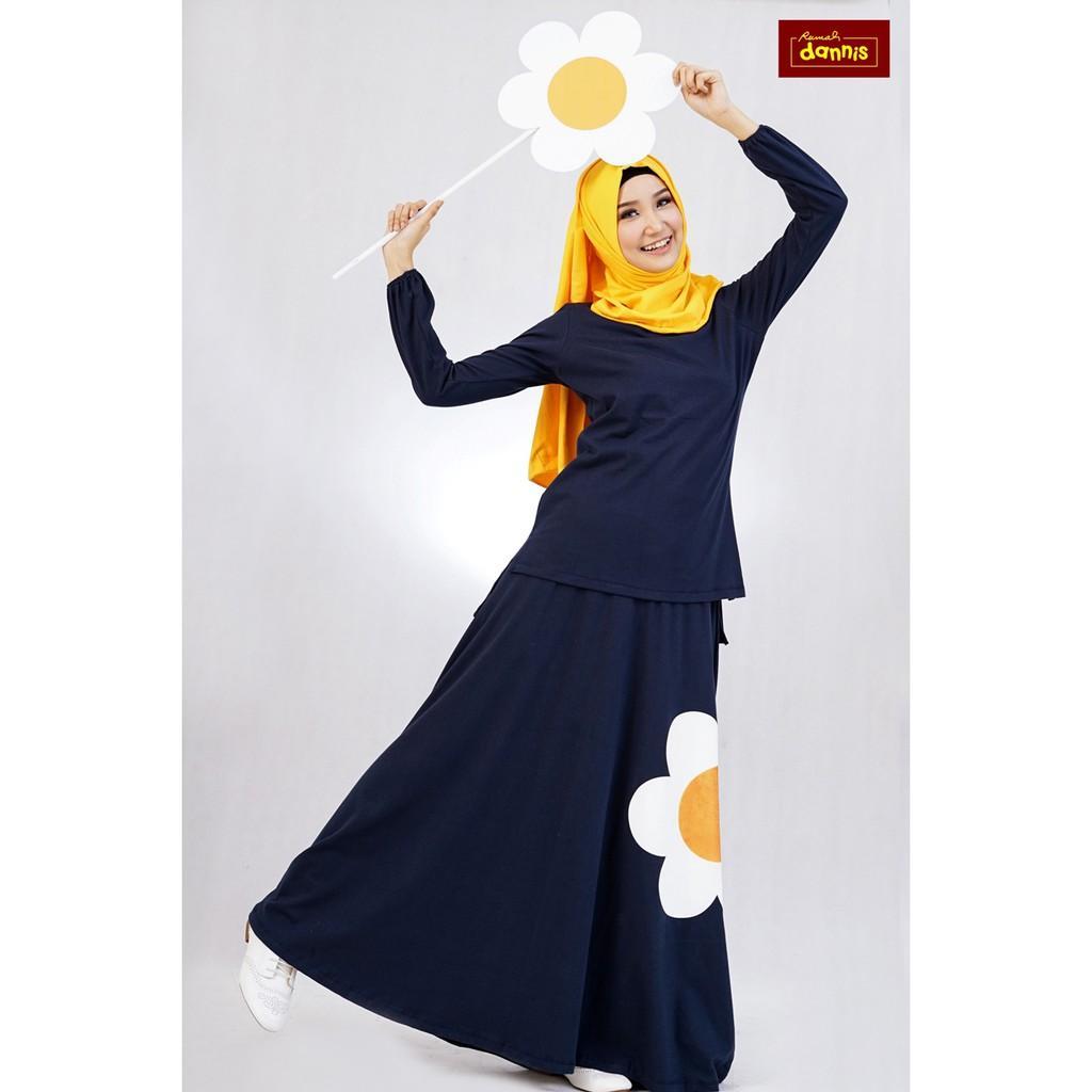 Setelan Rok Dannis Baju Muslim Sarimbit Eggy Flower - Biru Dongker - Bunga (Size M)