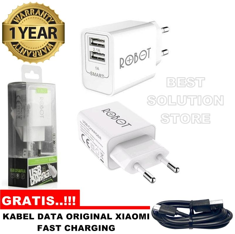 Vivan ROBOT Power Adapter RT-C04S Dual USB Ports Bergaransi Resmi + GRATIS..!!! Kabel Data Xiaomi Micro USB ORIGINAL