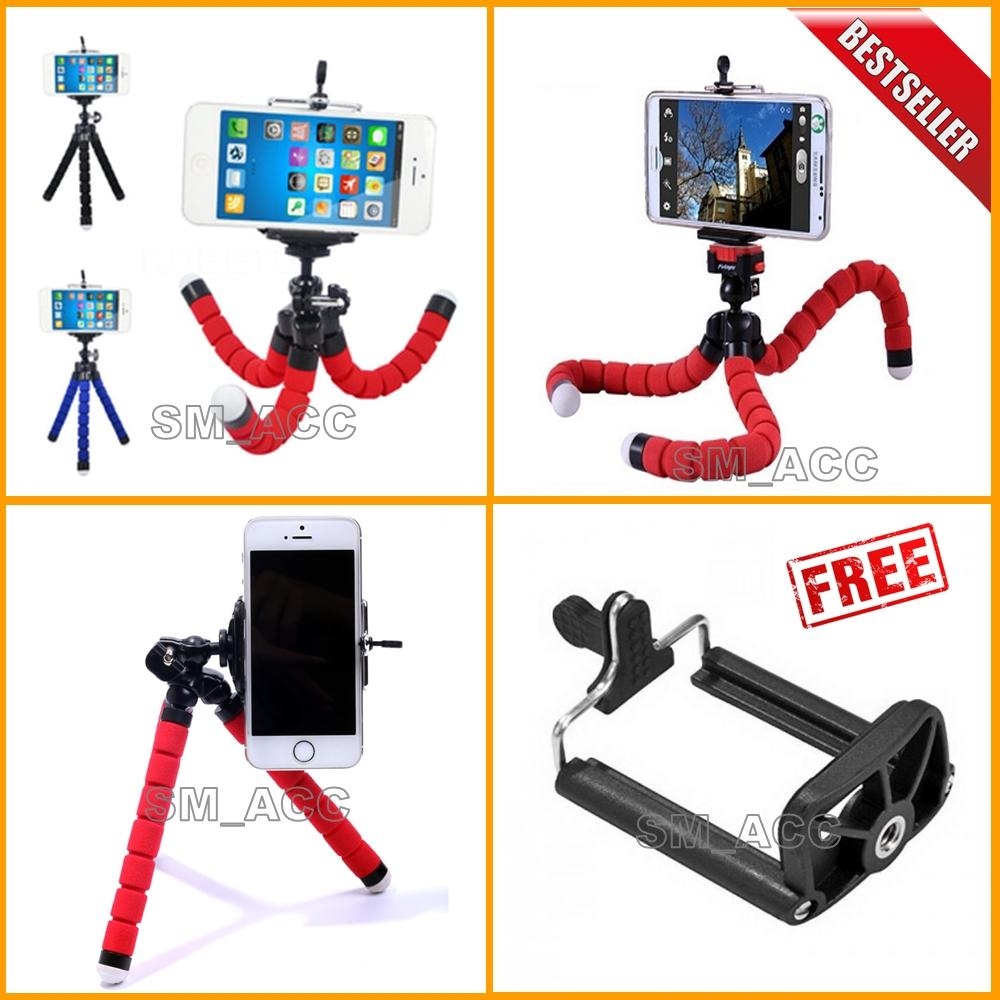Universal Tripod Mini / Tripod Spider Untuk Hp & Kamera Pocket / Camera Action + Bonus Holder U - Warna Random [ sm acc ]