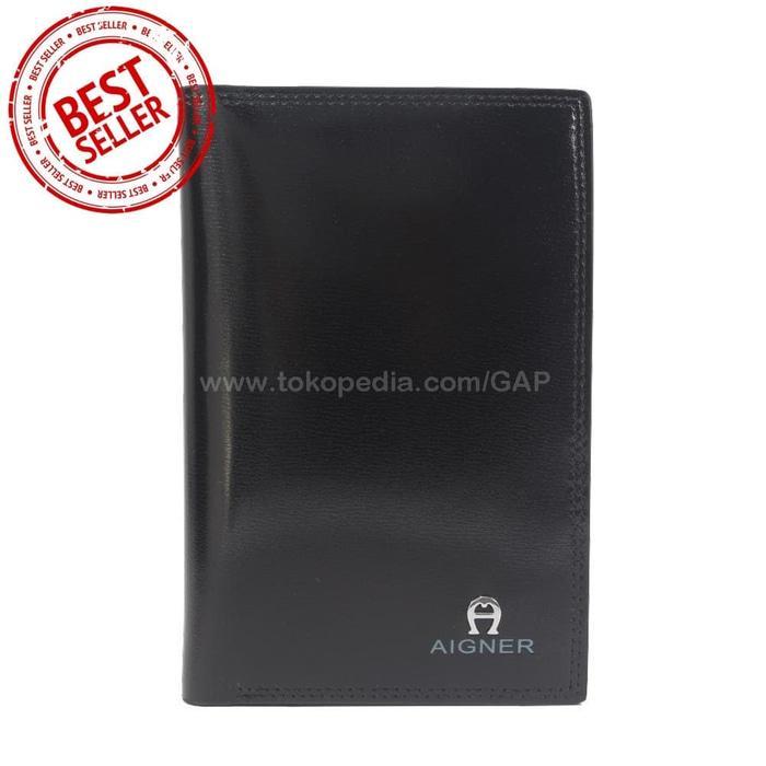 Best Top Seller!! Dompet Kulit Pria Tanggung Import Branded | Aigner 187D Black - ready stock