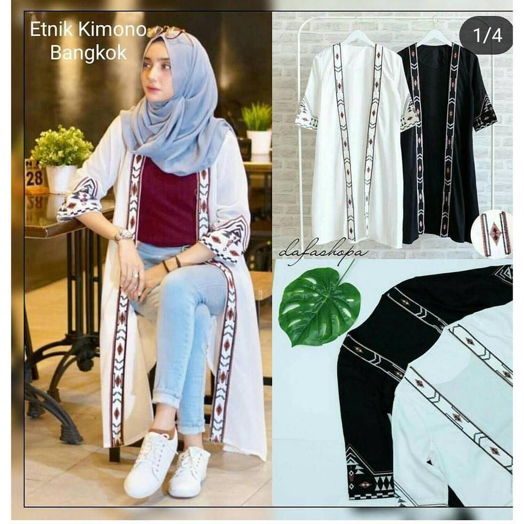 BAJU MURAH ETNIK KIMONO / Dress Muslim / Baju Muslim / Gamis Syari / Andam26
