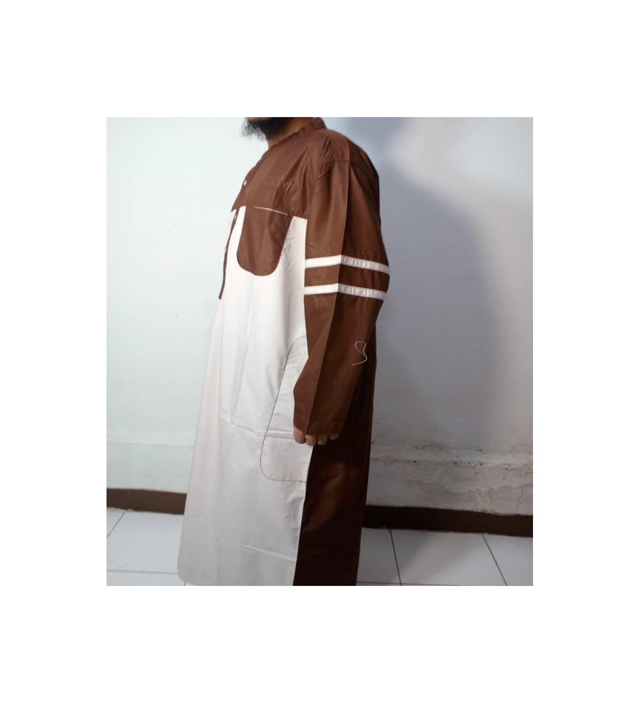 Baju Gamis-Baju Jubah Pria Warna Putih-Coklat Lengan Garis-Samase