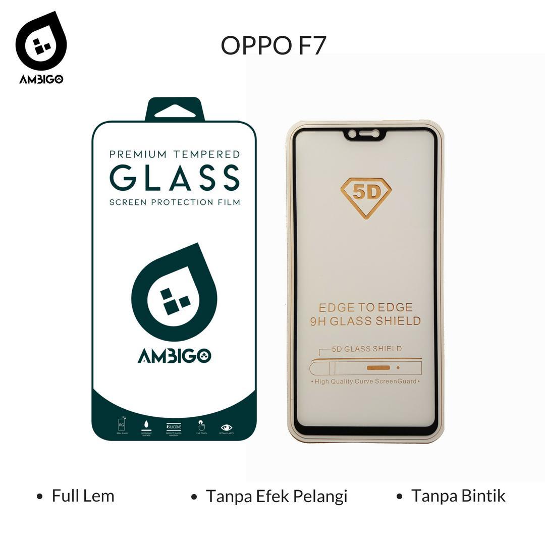 Accessories Hp Ambigo Tempered Glass 5D Full Cover Warna / Anti Gores Kaca Full Lem Untuk Oppo F7 - Hitam