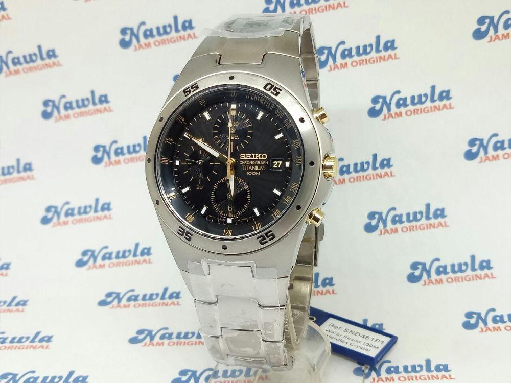 Seiko Quartz SND451P1 Chrono Titanium Bracelet - Jam Tangan Pria SND451 Best N2jt