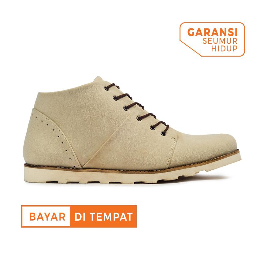 Sepatu Casual Ankle Boots Suede Pria Giant Flames Rocked Cream