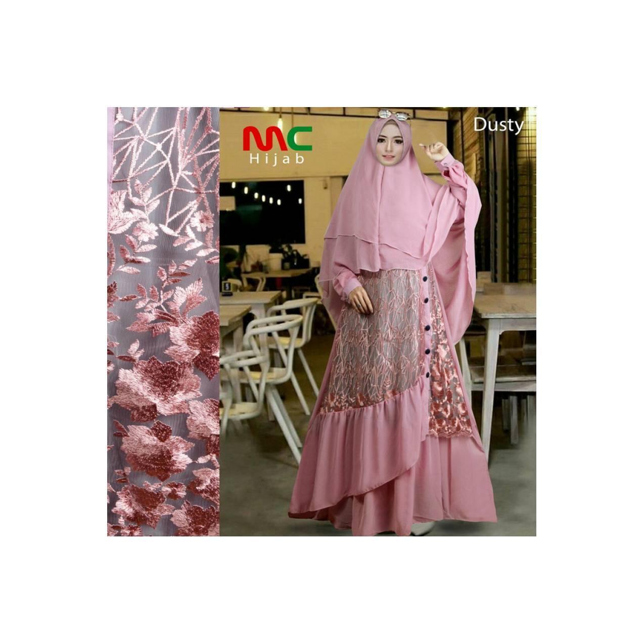Gamis Syari Ceruty Brokat Pink Mewah Canti elegan